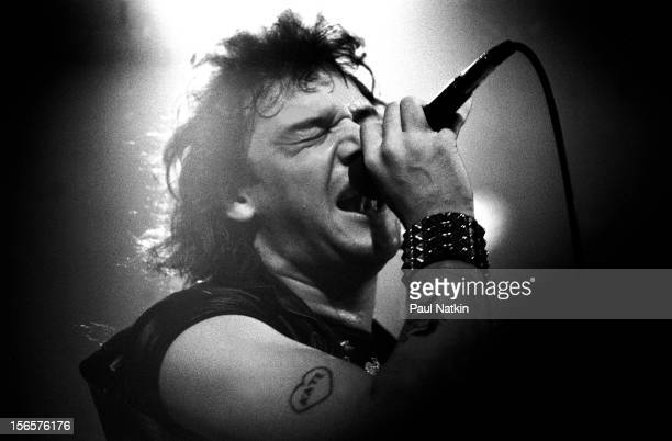 British heavy metal band Iron Maiden performs at Pointe East during their Killer World Tour Lynwood Illinois June 26 1981 Pictured is Paul Di'Anno