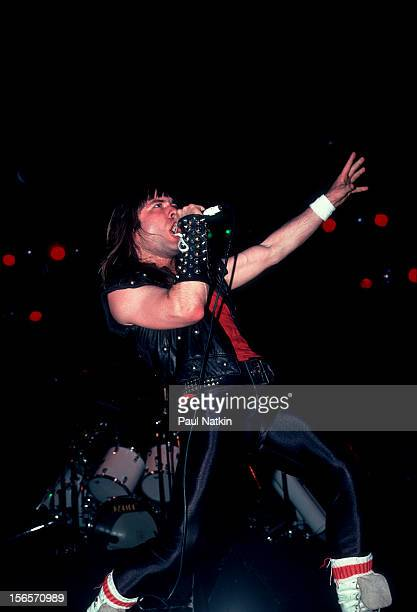 British heavy metal band Iron Maiden performs at the Holiday Star Theater during their Beast on the Road Tour Merrillville Indiana May 25 1982...