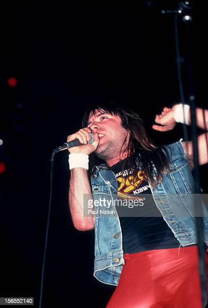 British heavy metal band Iron Maiden performs at the Rosemont Horizon during their Beast on the Road Tour Chicago Illinois September 21 1982 Pictured...