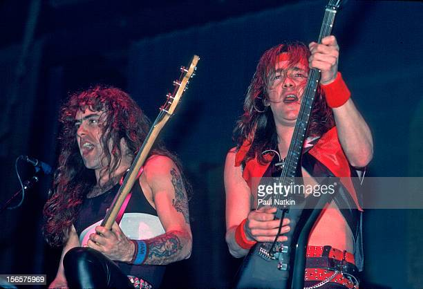 British heavy metal band Iron Maiden performs at the Rosemont Horizon during their World Slavery Tour Rosemont Illinois December 21 1984 Pictured are...