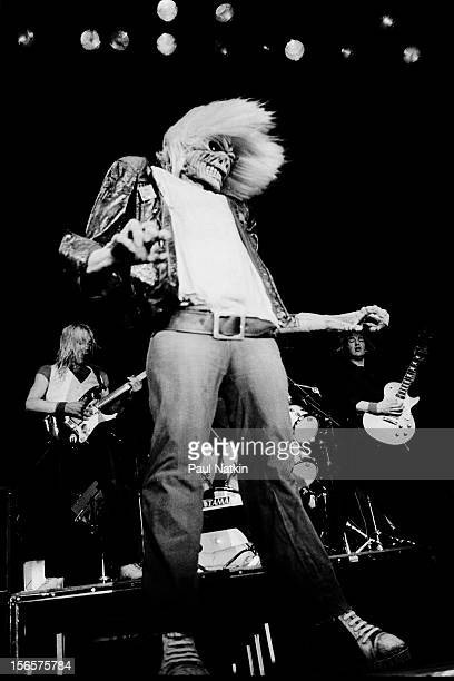British heavy metal band Iron Maiden performs at the UIC Pavillion during their World Piece Tour Chicago Illinois September 30 1983 Pictured is band...