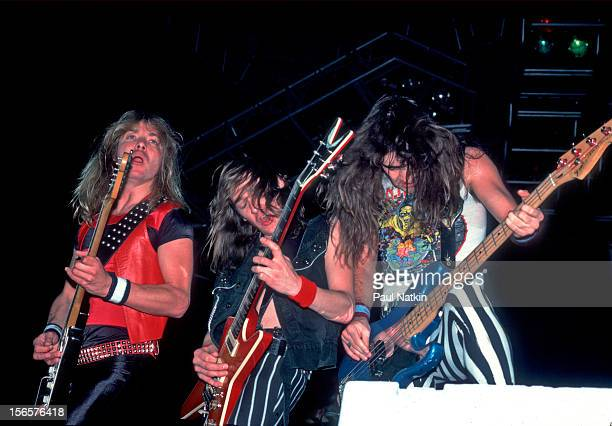 British heavy metal band Iron Maiden performs at the UIC Pavillion during their World Piece Tour Chicago Illinois September 30 1983 Pictured are Dave...