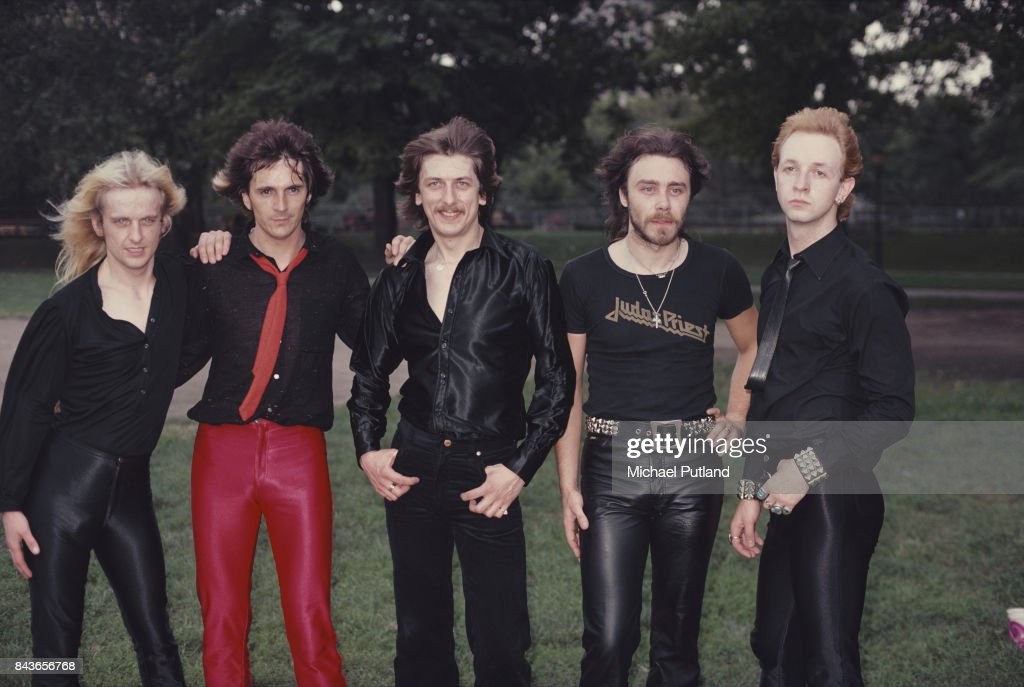 British heavy metal group Judas Priest at Central Park, New York, August 1979. Left to right: guitarist KK Downing, guitarist Glenn Tipton, drummer Dave Holland, bassist Ian Hill and singer Rob Halford.