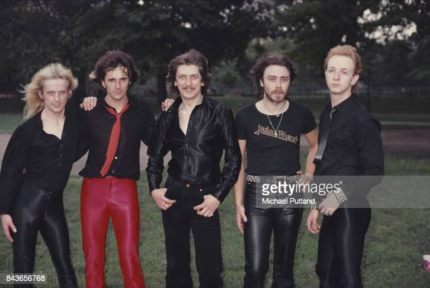 British heavy metal group Judas Priest at Central Park New York August 1979 Left to right guitarist KK Downing guitarist Glenn Tipton drummer Dave...