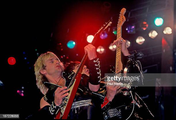 British heavy metal group Judas Priest perform onstage at Alpine Valley East Troy Wisconsin August 28 1982 Pictured are guitarists KK Downing and...