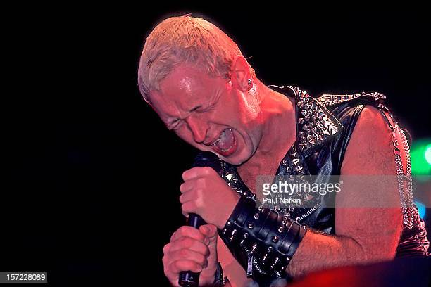 British heavy metal group Judas Priest perform onstage at Alpine Valley East Troy Wisconsin August 28 1982 Pictured is singer Rob Halford