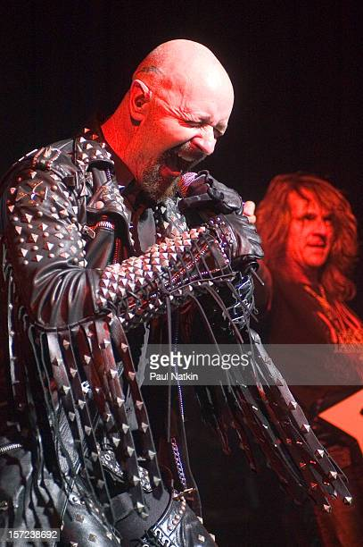British heavy metal group Judas Priest perform onstage at Alpine Valley East Troy Wisconsin August 14 2004 Pictured is singer Rob Halford
