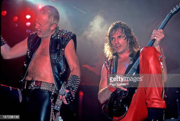 British heavy metal group Judas Priest perform onstage at the Rosemont Horizon Rosemont Illinois June 14 1984 Pictured are singer Rob Halford and...