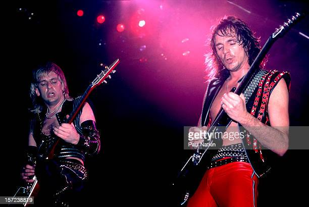 British heavy metal group Judas Priest perform onstage at the Rosemont Horizon Rosemont Illinois June 14 1984 Pictured are guitarists KK Downing and...