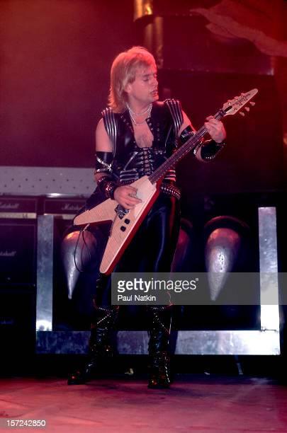 British heavy metal group Judas Priest perform onstage at the Rosemont Horizon Rosemont Illinois June 14 1984 Pictured is guitarist KK Downing