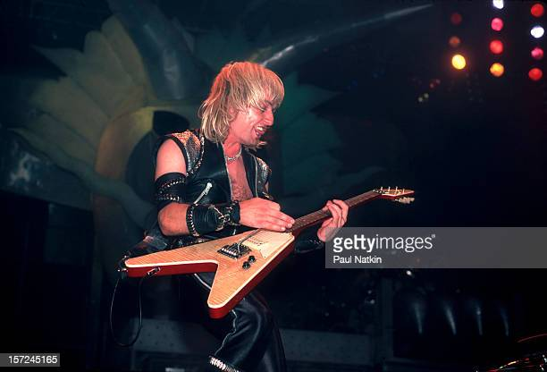 British heavy metal group Judas Priest perform onstage at the Rosemont Horizon Rosemont Illinois June 14 1984 Pictured is guitarist KK Downing