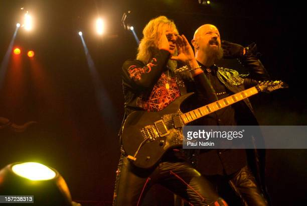 British heavy metal group Judas Priest perform onstage at the First Midwest Bank Ampitheater Chicago Illinois August 19 2008 Pictured are guitarist...