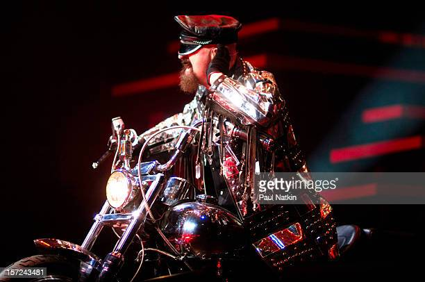 British heavy metal group Judas Priest perform onstage at the First Midwest Bank Ampitheater Chicago Illinois August 19 2008 Pictured is singer Rob...