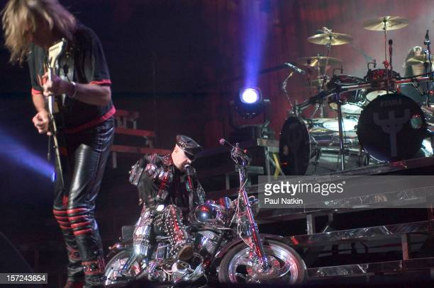 British heavy metal group Judas Priest perform onstage at the Tweeter Center Chicago Illinois August 21 2004 Pictured are guitarist Glenn Tipton and...