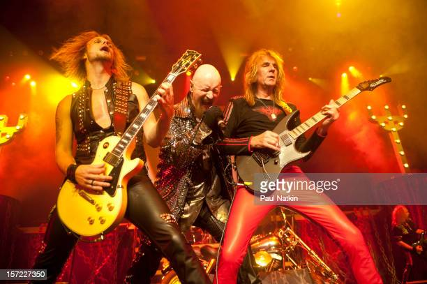 British heavy metal group Judas Priest perform onstage at the Venue in the Horseshoe Casino Hammond Indiana November 12 2011 Pictured are from left...