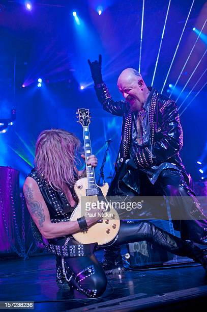 British heavy metal group Judas Priest perform onstage at the Venue in the Horseshoe Casino Hammond Indiana November 12 2011 Pictured are guitarist...