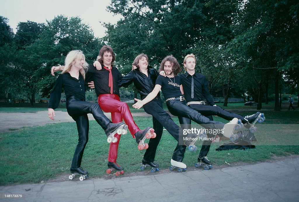 British heavy metal group Judas Priest wearing roller skates on a visit to Central Park, New York, August 1979. Left to right: KK Downing, Glenn Tipton, Dave Holland, Ian Hill and Rob Halford.
