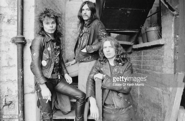 British heavy rock band Motorhead London 1978 Left to right drummer Phil 'Philthy Animal' Taylor bassist and singer Lemmy and guitarist 'Fast' Eddie...