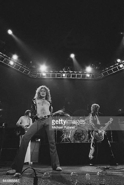 British heavy rock group Led Zeppelin performing at Earl's Court London May 1975 Left to right John Paul Jones Robert Plant John Bonham and Jimmy...