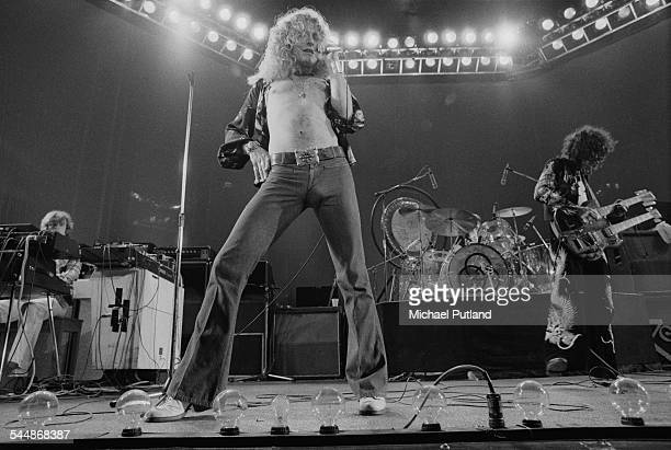 British heavy rock group Led Zeppelin performing at Earl's Court London May 1975 Left to right John Paul Jones Robert Plant John Bonham and Jimmy...