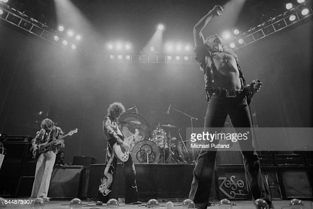British heavy rock group Led Zeppelin performing at Earl's Court London May 1975 Left to right John Paul Jones Jimmy Page John Bonham and Robert...