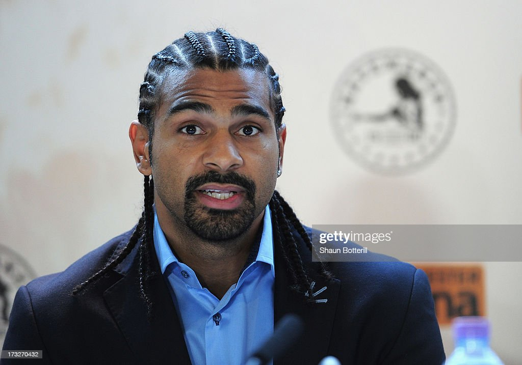 British heavyweight boxer <a gi-track='captionPersonalityLinkClicked' href=/galleries/search?phrase=David+Haye&family=editorial&specificpeople=220778 ng-click='$event.stopPropagation()'>David Haye</a> speaks during a press conference to announce his upcoming title fight against Tyson Fury on July 11, 2013 in London, England.