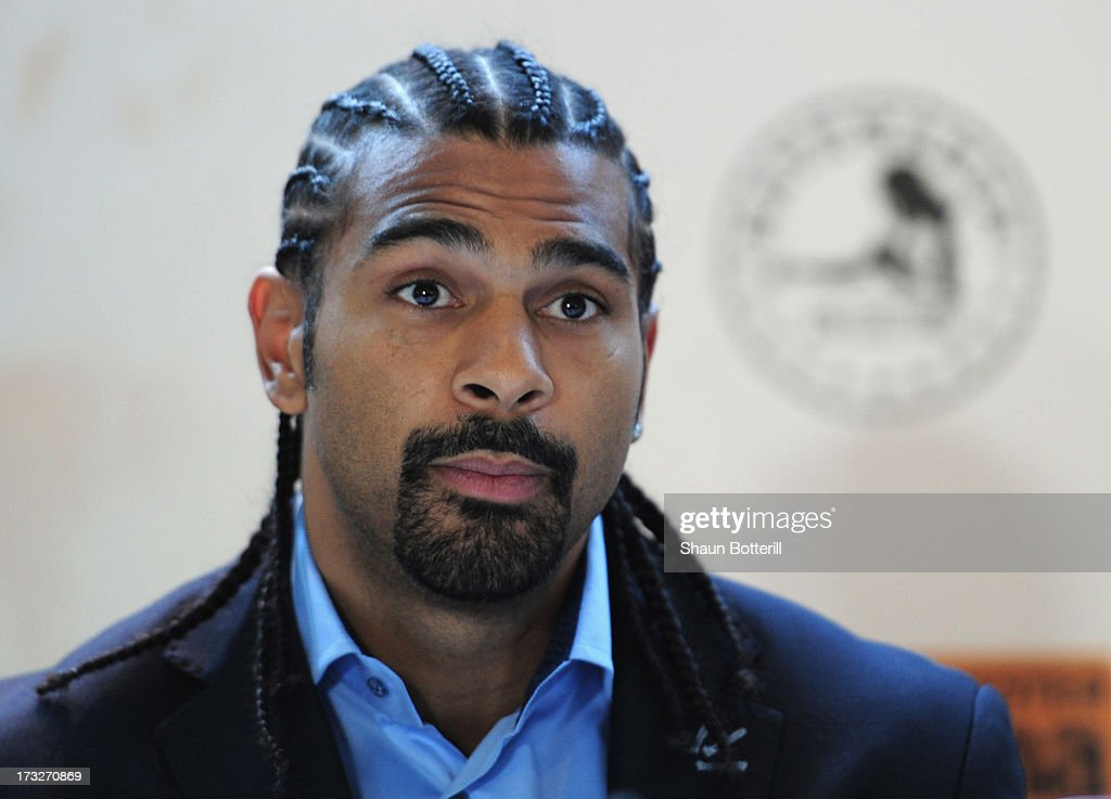 British heavyweight boxer David Haye speaks during a press conference to announce his upcoming title fight against Tyson Fury on July 11, 2013 in London, England.