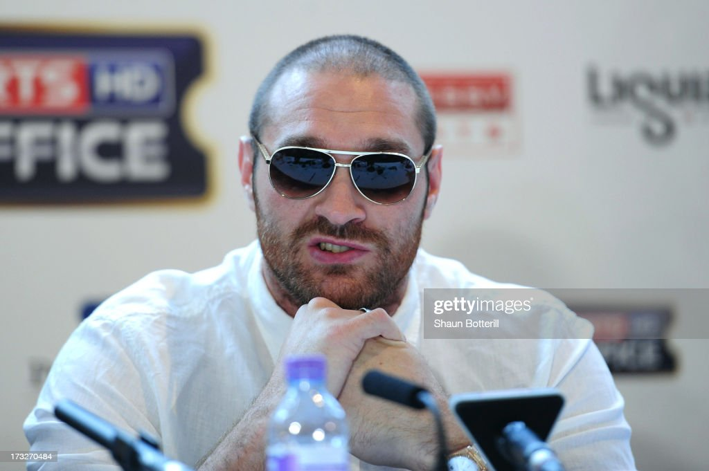 British heavyweight boxer Tyson Fury speaks during a press conference to announce his upcoming title fight against David Haye on July 11, 2013 in London, England.