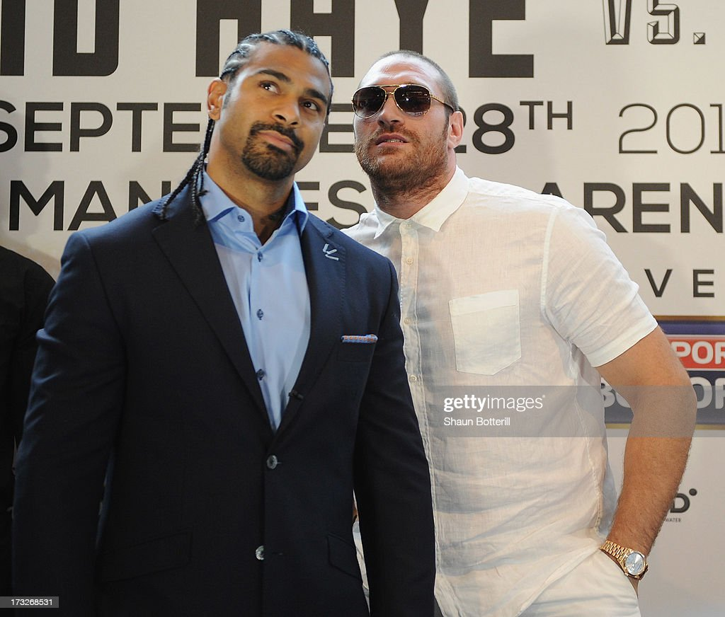 British heavyweight boxers <a gi-track='captionPersonalityLinkClicked' href=/galleries/search?phrase=David+Haye&family=editorial&specificpeople=220778 ng-click='$event.stopPropagation()'>David Haye</a> (L) and <a gi-track='captionPersonalityLinkClicked' href=/galleries/search?phrase=Tyson+Fury&family=editorial&specificpeople=5739191 ng-click='$event.stopPropagation()'>Tyson Fury</a> attend a press conference to announce their upcoming title fight on July 11, 2013 in London, England.