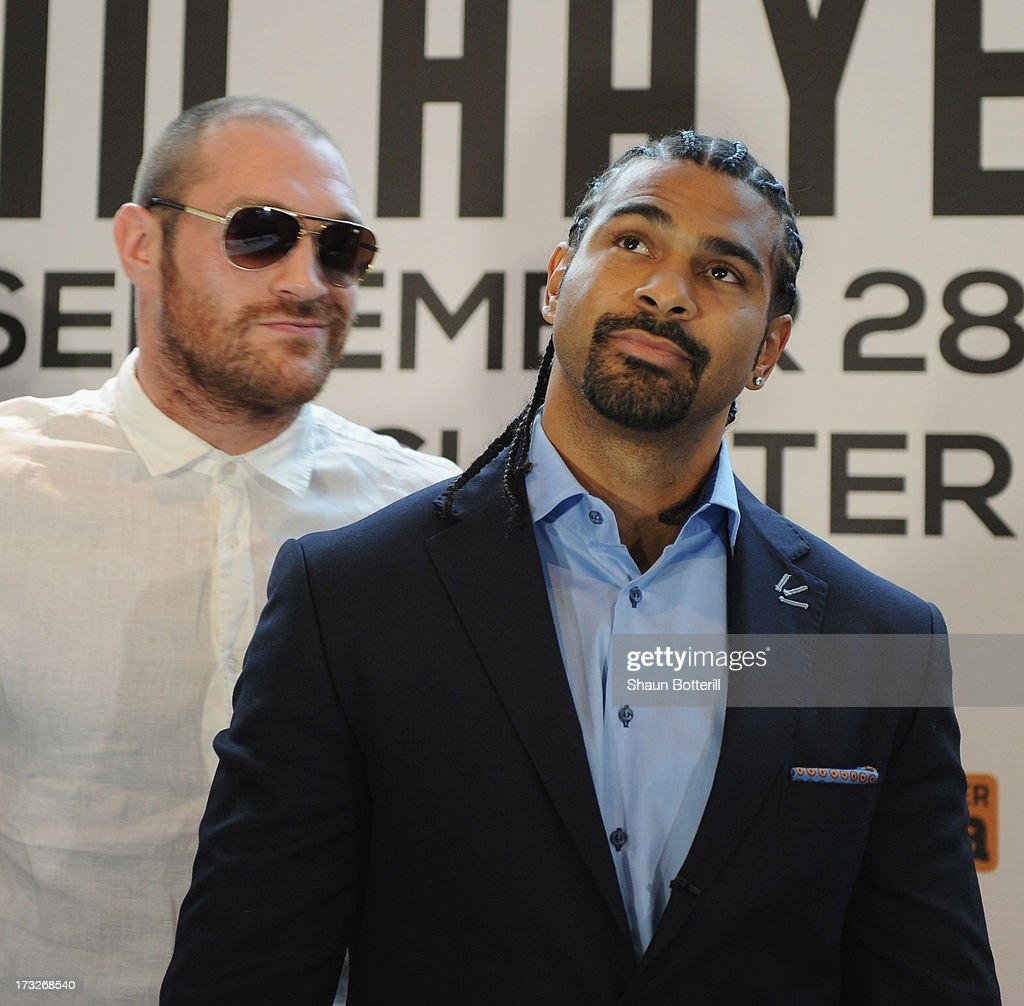 British heavyweight boxers <a gi-track='captionPersonalityLinkClicked' href=/galleries/search?phrase=David+Haye&family=editorial&specificpeople=220778 ng-click='$event.stopPropagation()'>David Haye</a> (R) and <a gi-track='captionPersonalityLinkClicked' href=/galleries/search?phrase=Tyson+Fury&family=editorial&specificpeople=5739191 ng-click='$event.stopPropagation()'>Tyson Fury</a> attend a press conference to announce their upcoming title fight on July 11, 2013 in London, England.