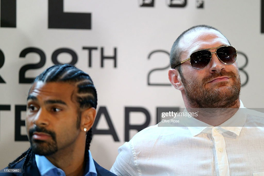 British heavyweight boxers <a gi-track='captionPersonalityLinkClicked' href=/galleries/search?phrase=Tyson+Fury&family=editorial&specificpeople=5739191 ng-click='$event.stopPropagation()'>Tyson Fury</a> (R) and <a gi-track='captionPersonalityLinkClicked' href=/galleries/search?phrase=David+Haye&family=editorial&specificpeople=220778 ng-click='$event.stopPropagation()'>David Haye</a> attend a press conference to announce their upcoming title fight on July 11, 2013 in London, England.