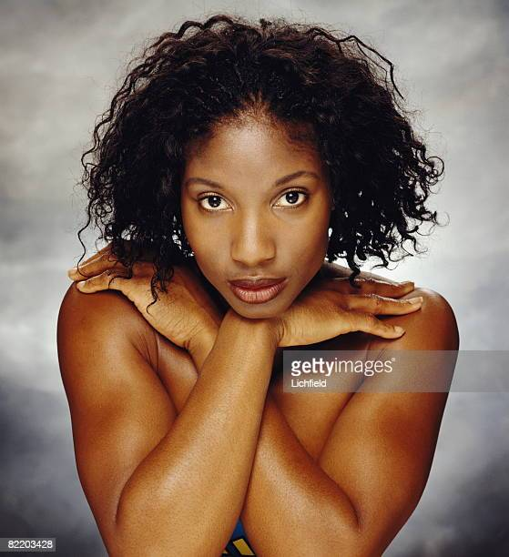 British heptathlete Denise Lewis who won a Gold Medal at the 2000 Sydney Olympic Games photographed in the Studio on 5th February 1999
