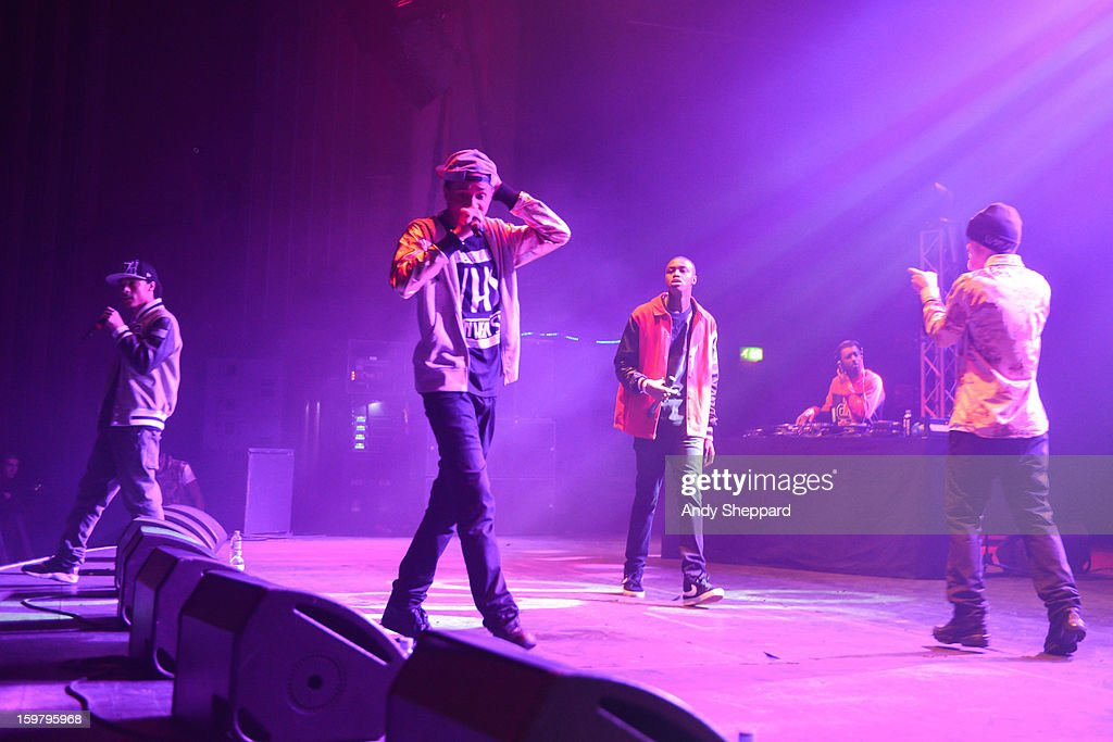 British Hip Hop band Rascals perform on stage at Hammersmith Apollo on January 20, 2013 in London, United Kingdom.