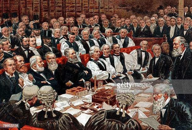 British History Politics Colour illustration The 3rd Marquess of Salisbury right leader of the Conservative opposition in the House of Lords seen...