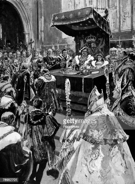 British History Royalty Illustration The distribution of the regalia at the Coronation of King Henry VIII and Catherine of Aragon at Westminster 24th...