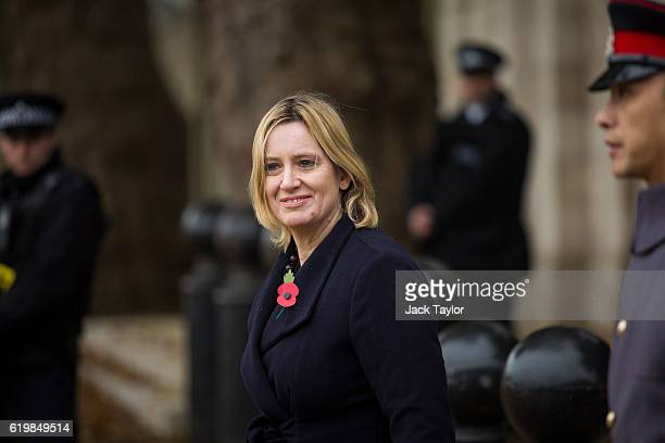 British Home Secretary Amber Rudd arrives at Horse Guards Parade for the Official Ceremonial Welcome for the Colombian State Visit on November 1 2016...