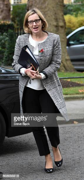 British Home Secretary Amber Rudd in Downing Sreet on October 31 2017 in London England