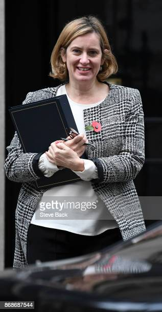 British Home Secretary Amber Rudd in Downing Street on October 31 2017 in London England