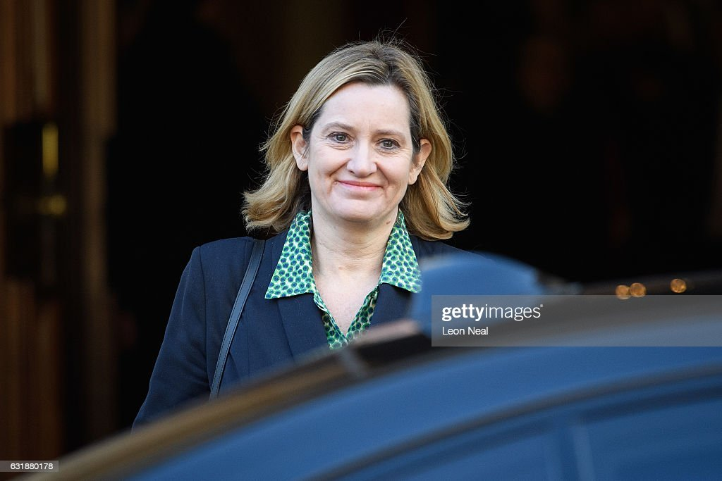 British Home Secretary Amber Rudd leaves after listening to British Prime Minister Theresa May's keynote speech on Brexit at Lancaster House on January 17, 2017 in London, England. In the speech, she announced that the UK is to leave the single market.