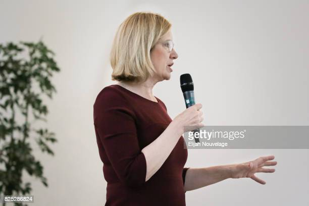 British Home Secretary Amber Rudd speaks at the inaugural meeting of the Global Internet Forum to Counter Terrorism on August 1 2017 in San Francisco...