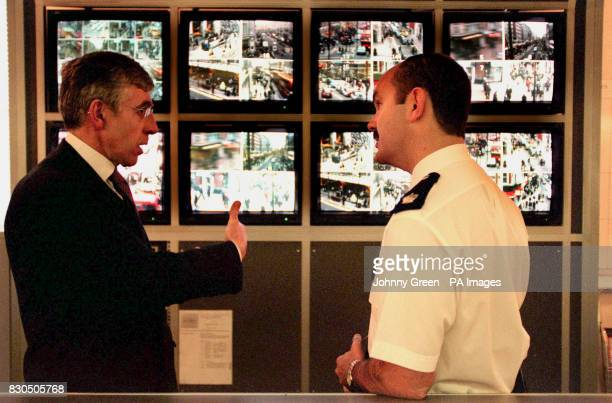 British Home Secretary Jack Straw talks to Superintendant Archie Torrance during his vist to the Closed Circuit TV Control Room at London's...