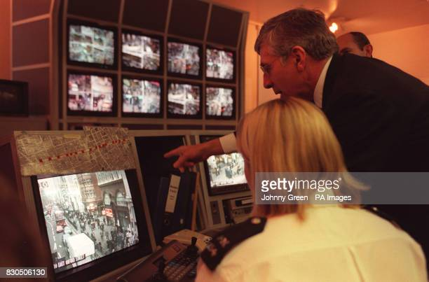 British Home Secretary Jack Straw talks to WPC Jane Walton during his vist to the Closed Circuit TV Control Room at London's Marylebone Police...