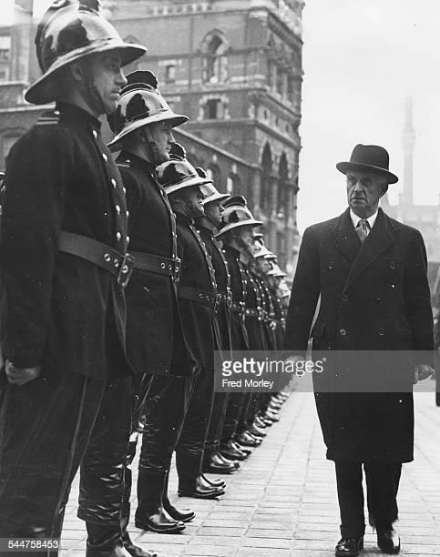 British Home Secretary James Chuter Ede inspecting fireman at the parade at London Fire Brigade headquarters on the Albert Embankment London April...