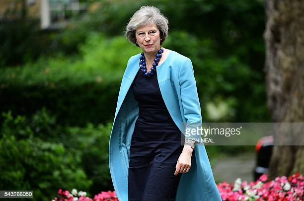British Home Secretary Theresa May arrives to attend a cabinet meeting at 10 Downing Street in central London on June 27 2016 European stock markets...