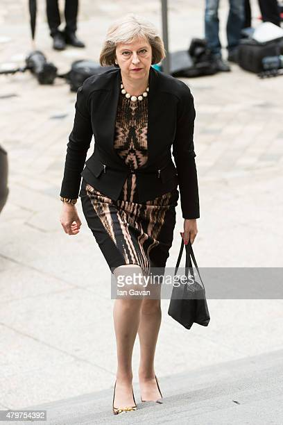 British Home Secretary Theresa May attends the service to commemorate the tenth anniversary of the London 7/7 bombings at St Pauls Cathedral on July...
