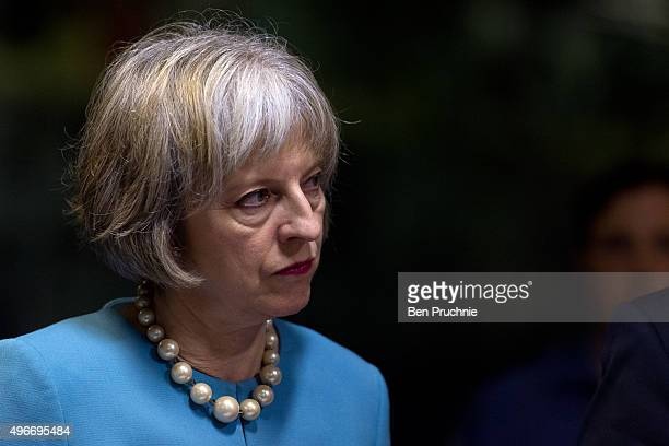 British Home Secretary Theresa May receives a tour of HMS Bulwark during the Valletta Summit on migration on November 11 2015 in Valletta Malta The...