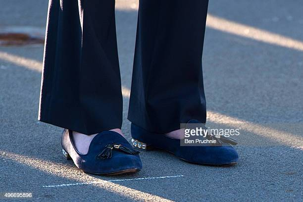 British Home Secretary Theresa May shoe detail receives a tour of HMS Bulwark during the Valletta Summit on migration on November 11 2015 in Valletta...