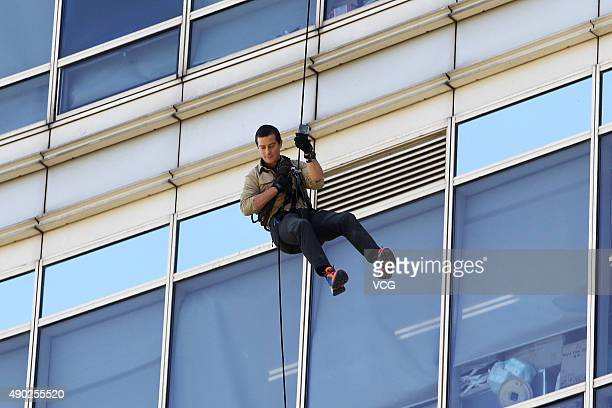 British host Bear Grylls attends the filming of the TV programme 'Survivor Games' on September 27 2015 in Shanghai China