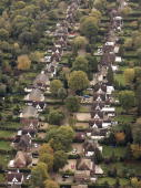 British housing stock showing back gardens on November 10 2006 near Woking England