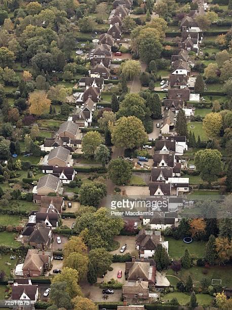 British housing stock showing back gardens on November 10 2006 near Woking England